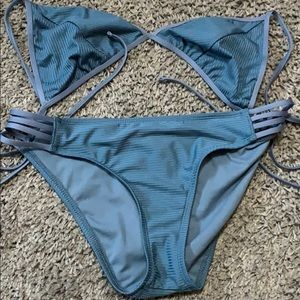 Blue swimsuit bikini.